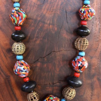 African Fiesta Necklace Beads, Big Multi Color Mosaic Glass Beads Confetti Beads with vintage Black Resin beads Colorful African Jewelry