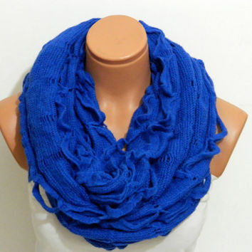 knitting machine infinity Scarf Block Infinity Scarf. Loop Scarf, Circle Scarf, Neck Warmer. royal blue  infinity