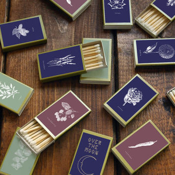 Twelve (12) Botanical Matchboxes - Garden Theme Matches - Rustic Home Decor - Party Favors - Floral Print Matchbooks - Light a Summery Spark