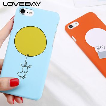 Lovebay Phone Case For iPhone 8 7 6 6s Plus Cartoon Caricature Funny Animal Rabbit with Balloon Hard Cover Case For iPhone 8