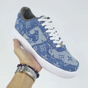 PEAPON NIKE Air Force 1 Supreme x Louis Vuitton Blue For Women Men Running Sport Casual Shoes Sneakers