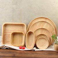 Wooden Serving Trays for Party/Hotel/Home Dinner Plate Dish Tableware Rubber Wooden Tray for Snacks Fruit Milk Round Suqare
