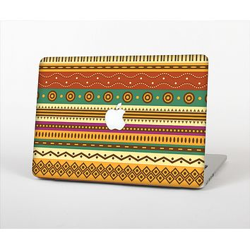 The Aztec Tribal Vintage Tan and Gold Pattern V6 Skin Set for the Apple MacBook Pro 15""