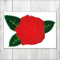 Red Rose Painting - Glitter and Glass Paints - Canvas