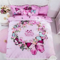 Home Textile Flowers Bedding Set Cotton Cartoon Bed Linen Include Duvet Cover Bed Sheet Pillowcase Twin Queen Size Free Shipping