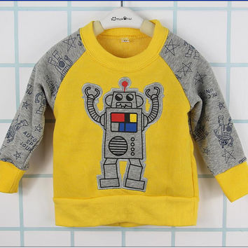 New 2016 baby boys nova kids  cotton long sleeve children robot modeling cartoon 0-2 years newborn baby clothing