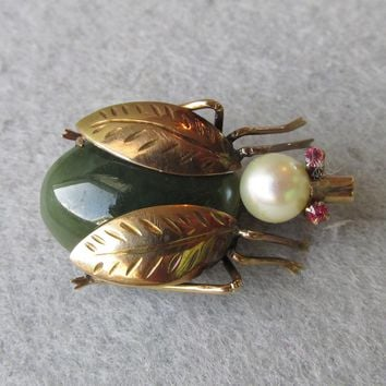 14k Gold, Jade, Cultured Pearl & Ruby BEE Pin, Vintage Brooch