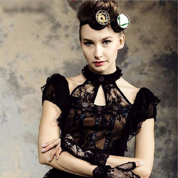 Black Cotton and Lace Steampunk / Victorian Halter Blouse