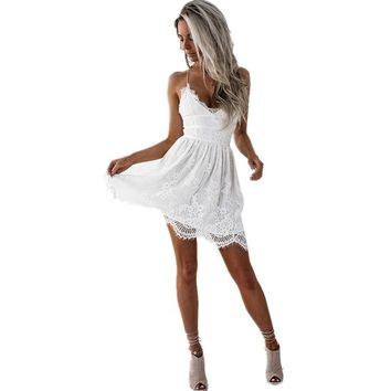 2018 Sexy Beach Tunic Backless Lace Mini Dress Women V-neck Midi Summer Sundress Female Party Club White Dress Vestido De Festa