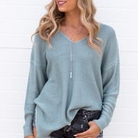 Kelley V-Neck Knit Oversized Sweater- Teal