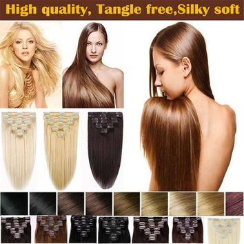 15inch-22inch 7pcs Straight Clip In Remy Human Hair Extensions for Women Beauty