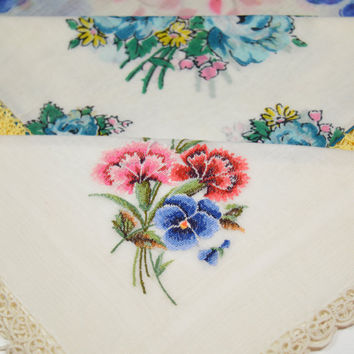 Vintage Handkerchiefs Hankies LOT of THREE Mint Condition Flowered Embroidered Lace Scalloped Edges Yellow Blue Pink Green Mothers Day