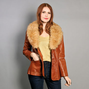 70s Burnt Orange LEATHER JACKET / Fitted Boho Coat with Fluffy Fur Collar, xs-s