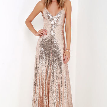 Charismatic Spark Gold Sequin Maxi Dress