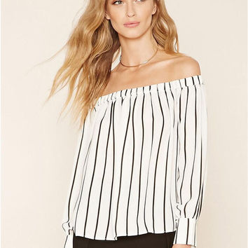White Striped Off Shoulder Chiffon Blouse