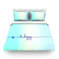"Monika Strigel ""Be Happy Aqua"" Simple Blue Featherweight Duvet Cover"