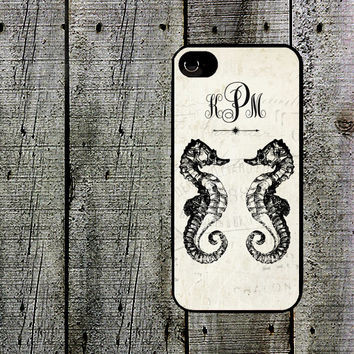 Personalized Seahorse Duo Phone Case - for iPhone 4,4s or iPhone 5