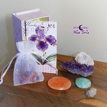 Crystal Wiccan Starter Kit - Pagan Altar Box - Amethyst - Orange Selenite - Fluorite - Quartz