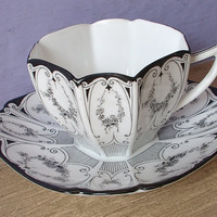 Antique tea cup vintage 1920's Shelley black by ShoponSherman