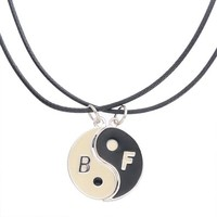 MJartoria B F Initial Letter Engraved Split Taoism Round Yin Yang Pendant Friendship Necklace Set of 2