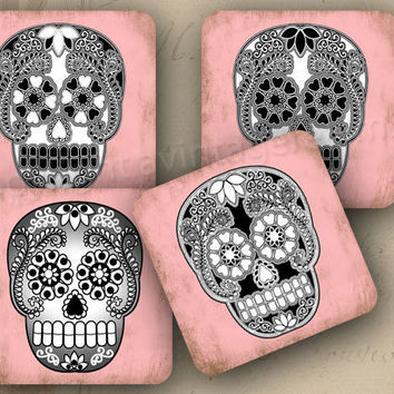 """Day of the Dead coasters decoration 4x4"""" - Set of 4 SOFT coasters - Black sugar skulls on pink (9237)"""