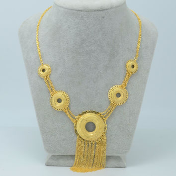 48CM + 3CM / Africa Necklace for Women 22k Gold Plated Middle Eastern Arab Jewelry Indian/Egypt/Nigeria/Ethiopian Chain #019A120