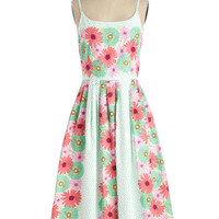 Bea & Dot 50s Long Spaghetti Straps Fit & Flare High Socie-tea Dress in Flower Box