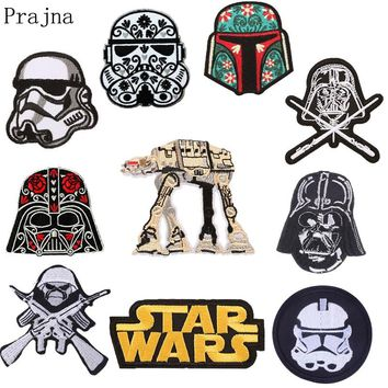 Prajna Star Wars Jurassic Patch Movie Stranger Things Iron On Embroidered Patches For Clothes Sewing Black Patch Badge Parches