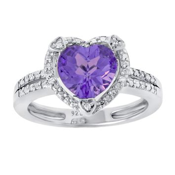 Sterling Silver Heart Birthstone Ring with Diamond Accent