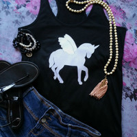 Unicorn with wings tank top for trendy fashionable teen or tween girl