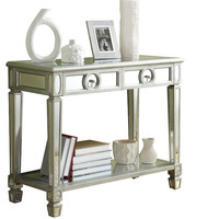 """Brushed Silver Mirrored 38""""L Sofa Console Table"""