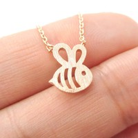 Adorable Bumble Bee Insect Shaped Charm Necklace in Rose Gold | Animal Jewelry