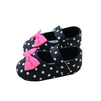 Toddler Baby Girl Princess First Walkers Black Polka Dot Crib Shoes Kid Mary Jane Shoes