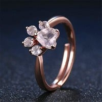 Cute Rose Paw Ring