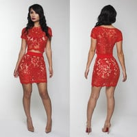 Red Lace Cutout Short Sleeve Bodycon Cropped Top Mini Skirt Set
