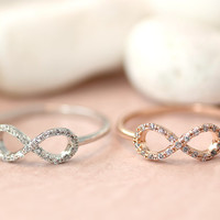 1piece Infinity Ring Crystal Best Friend Forever Infinite Love Ring Jewelry Rose Gold Silver gift idea