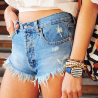 Here Comes The Sun Shorts: Denim