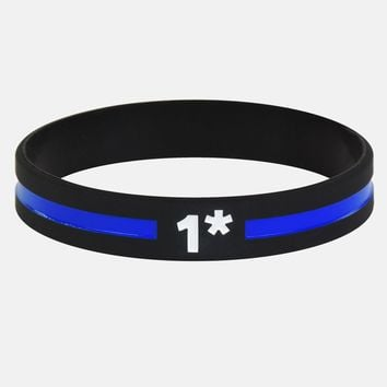 1 Asterisk Thin Blue Line Wristband