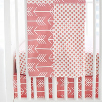 Wanderlust in Coral Baby Bedding | White and Coral Blanket