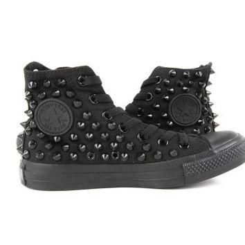 Original Converse AllStar Chuck Taylor high top studded Converse stud Black spike on