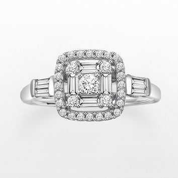 Cherish Always Round-Cut Diamond Frame Engagement Ring in 10k White Gold (2/3 ct. T.W.)