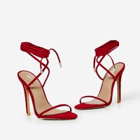 Ali Lace Up In Heel Red Faux Suede
