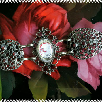 Handmade victorian-style silver and red cabochon bracelet
