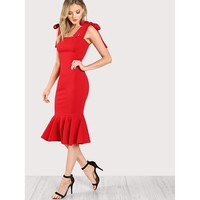 Red Tied Strap Ruffle Fishtail Dress