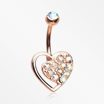 Rose Gold Sparkle Heart in Heart Belly Button Ring
