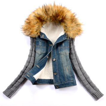 Large Size Denim Jacket Fur Collar Women Winter Jacket Denim Jacket Thick Plus Cotton Women's Jacket Oversized Temperature Coat