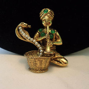 HATTIE CARNEGIE Vintage Snake Charmer with Cobra Snake in Basket Brooch Rhinestone Jade Pearl Glass Figural Pin