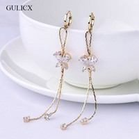 ONETOW GULICX Fashion Long Tassel Earing for Women Gold-color Earring Crystal Cubic Zircon Dangle Earrings Wedding Jewlery E122