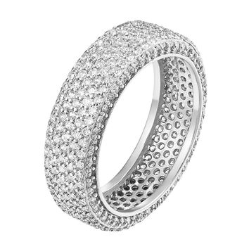 Womens Round Cut AAA Sterling Silver Eternity Wedding Band Size 6-8 Bridal