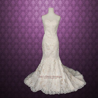 Vintage Inspired Strapless Sweetheart Lace Mermaid Wedding Gown | Vintage Lace Wedding Dress